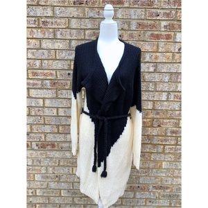 NWOT Long Open Cardigan Sweater With Tie Belt